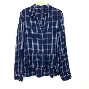 Express Plaid Peplum Button Down Shirt